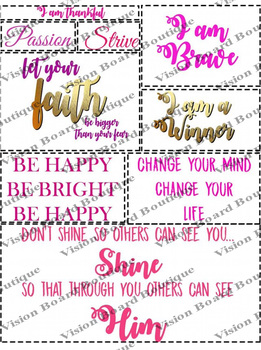Printable Vision Board Quote Cut outs | Wall ART Quote | Positive  Affirmations