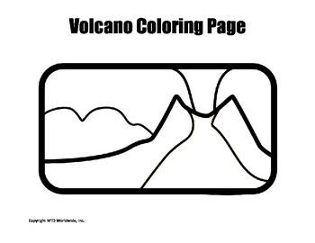 Printable Volcano Coloring Page Worksheet