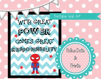 "Printable Wall Art (Poster) ""With great power..."" Spiderman"