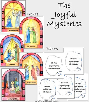 Printable Watercolor Mysteries of the Rosary Cards