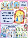 Printable Watercolor Mysteries of the Rosary Display Posters 8x11
