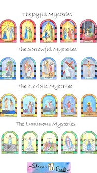 image about Mysteries of the Rosary Printable identify Printable Watercolor Mysteries of the Rosary Show Posters 8x11