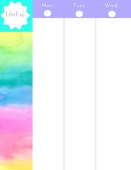 Printable Watercolor Planner