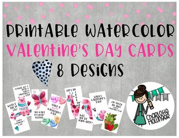 Printable Watercolor Valentine's Day Cards 8 Designs