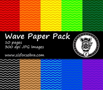 Wave Pattern Paper Pack 2 - 10 pages - Commercial OK