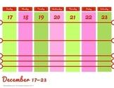 Printable Weekly Christmas Calendar November 2017 December 2017 January 2018