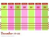 Printable Weekly Christmas Calendar November 2017 December