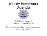 Printable Weekly Homework Agenda