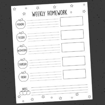 Printable Weekly Homework Schedule, Apple Theme, Classroom