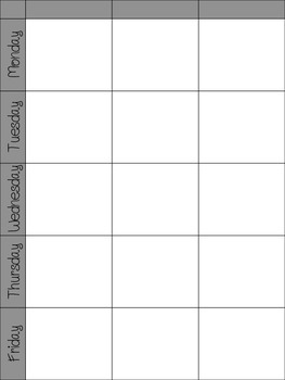 Printable Weekly Lesson Plan table
