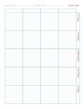 Printable Weekly Lesson Planner-2 Page Spread Color and Gray-Scale