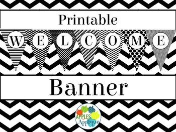 Printable Welcome Banner FREEBIE in Black and White Theme