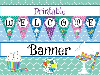 Printable Welcome Banner FREEBIE in Candy Shop Theme