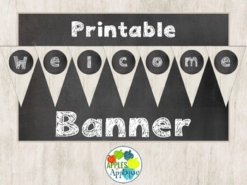 printable welcome banner freebie in chalkboard theme by apples to