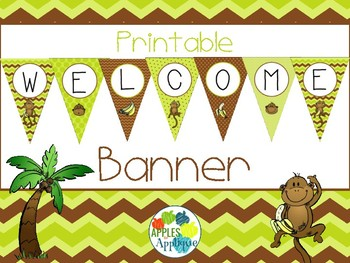 Printable Welcome Banner FREEBIE in Monkey Theme