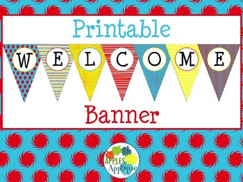 Printable Welcome Banner FREEBIE in Primary Colors Theme