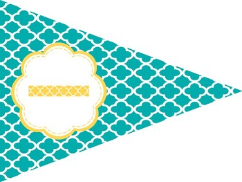 Printable Welcome Banner FREEBIE in Yellow Teal and Gray Theme