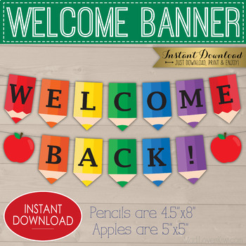 photo about Welcome Banner Printable known as Printable Welcome Banner, Pencil Apple Clroom Decor, Back again in direction of Faculty Bunting