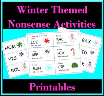 Printable Winter Nonsense Words Activities