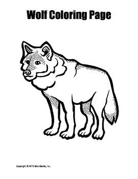 Printable Wolf Coloring Page Worksheet