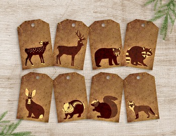 Printable Woodland Animal Gift Tags - 8 Handmade Rustic Ta