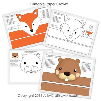 image relating to Printable Woodland Animals referred to as Woodland Pets Printable Paper Crowns - Coloration + Black white variation