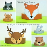 Woodland Animals Printable Paper Crowns  - Color + Black &