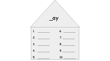 Printable Word Family Houses for writing and cutting out