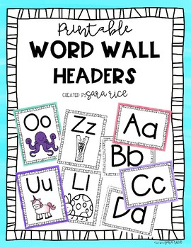 graphic relating to Printable Word Wall Letters called Printable Term Wall Header / Alphabet Letters / Flash Playing cards