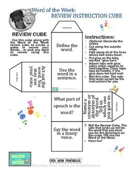 Printable Word of the Week Review Cube: Literacy & Vocabul