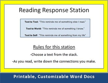 Printable Work Stations: Reading and Writing Centers