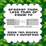 Printable Worksheets Greater Than Less Than or Equal to Base 10 Blocks 10 & 100s