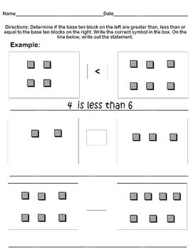 Printable Worksheets Greater Than Less Than or Equal to Base 10 Blocks 1s