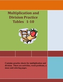 Printable Worksheets Multiplication and Division Practice 1-10 Tables