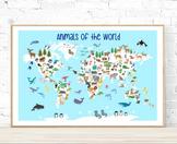 Printable Animals World Map Poster