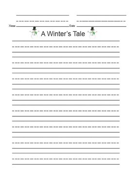 Printable Writing Center - A Winter's Tale Story Starter File Folder Game