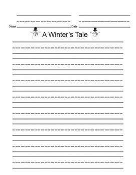 Printable Writing Center - A Winter's Tale Story Starter File Folder Game Gray