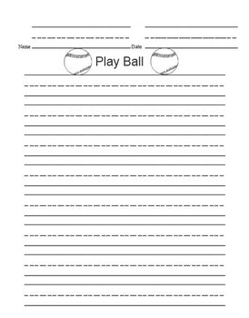 Printable Writing Center - Play Ball Story Starter File Folder Game