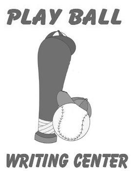 Printable Writing Center - Play Ball Story Starter File Folder Game Gray