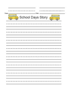 Printable Writing Center - School Days Story Starter File Folder Game