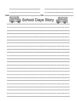 Printable Writing Center - School Days Story Starter File Folder Game Gray