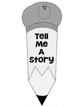 Printable Writing Center - Tell Me A Story - Story Starter File Folder Game Gray
