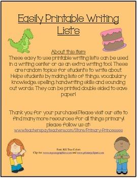 Printable Writing List's