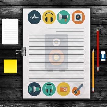 WRITING PAPER: Audio Theme (10 Styles)