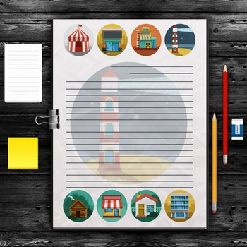 WRITING PAPER: Building Theme (10 Styles)