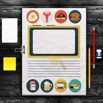 Writing Paper: Food & Drink Theme (10 Styles)