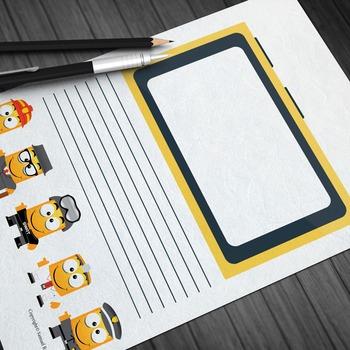 Writing Paper: Minion Theme (11 Styles)