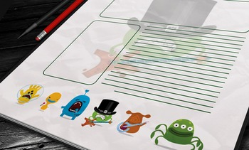 WRITING PAPER: Monster Theme (10 Different Styles)