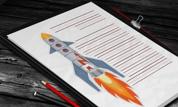Writing Paper: Rocket Theme (10 Styles)