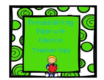 Printable Writing Paper with Checklist - Medium lines